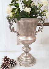 Pokal Amphore Pflanzschale Antik Silber Metall Sabby Vintage Landhaus Nr. 23