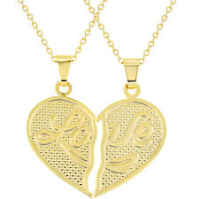 18k Gold Plated His Her Heart Love Couple Pendant Necklace 19""