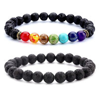 7 Chakras Stone Lava Rock Diffuser Bracelet Elastic Yoga Beads Bangle Men Women