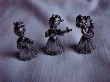 Vintage collectible trio of small metal carolers musicians Christmas ornaments 3
