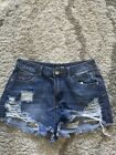 FASHIONNOVA Ladies Denim Blue Jean Distressed Shorts Size M VGC