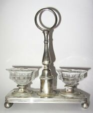 CHRISTOFLE : ANCIENNE SALIERE DOUBLE EN METAL ARGENTE SALERONS CRISTAL BACCARAT