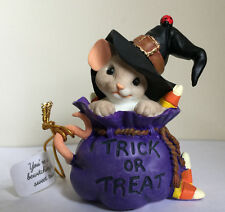 "Roman 3"" Mouse W/Hat In Treat Bag Charming Tails Figurine Item# 131632 Nib"