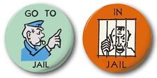 """IN JAIL & GO TO JAIL -  2x  25mm 1"""" Button Badges -  Novelty Cute Monopoly"""