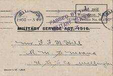WW1 ANZAC New Zealand Military service card 1916 R.M.S Moana USS Co Wellington