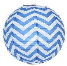 14'' Chinese Japanese Paper Lantern Blue Chevron Home Wedding Party Decor NEW