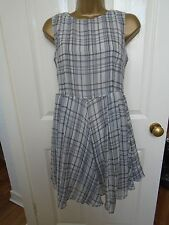 NEW GLAMOROUS Black & White Checked Skater Rouched Dress Size 8 RRP £35