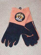 Lg HARLEY DAVIDSON MOTORCYCLES log work bon fire Gauntlet Welder Leather Gloves