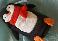 NWT Carters Penguin Roll Up Blanket Soft Black Plush Fleece Baby Security Lovey