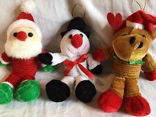 Set of 3 Kid's Christmas Bouncy Doorknob Decor - Santa Reindeer & Snowman *NWOT*