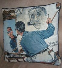 NORMAN ROCKWELL Triple Self Portrait Tapestry Throw Pillow Made in USA