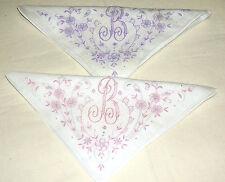 2 Vintage Madeira Hand Embroidered Handkerchief Monogrammed B lot # 16