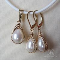SET mit Kette Zucht Perlen Tropfen weiß + Anhänger & Ohrringe ygf 14k Gold 585