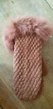 🐇🐇 BNWT REAL FUR Trim Gloves Mittens Ladies Brown Ginger One Size