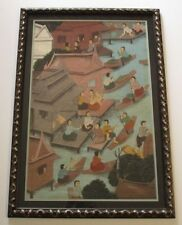 VINTAGE FLOATING MARKET PAINTING 1950'S LANDSCAPE ASIAN BANGKOK FOLK ART LARGE