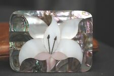 Pearl 1930 Decoration Floral A813 Belt Buckle In Marquetry Mother Of