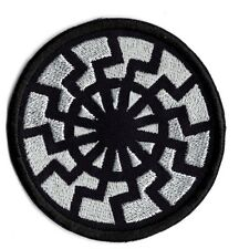 Silver black sun applique patch twill fabric Iron/sew on