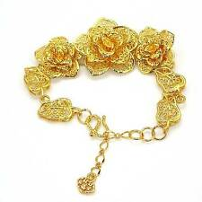 "18K Yellow Gold Filled Womens Bracelet Huge Flower Chain 9""Link Charm GF Jewelry"