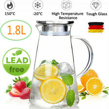 1,8L Glaskaraffe Wasserkaraffe Karaffe mit Kristallgriff und Edelstahl Deckel DE