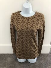 Donna Jessica Women's Shirt Size 1. Brown Embroidered. Long Sleeve Top. NWT