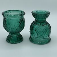 Vintage Textured Green Pressed Glass Two Way Candle Holder Pedestal/Cup
