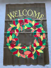 New listing Lg. Grdn. Welcome Flag 28x40 New Brown w/Colorful Fall Wreath w/Acorns Appliqued