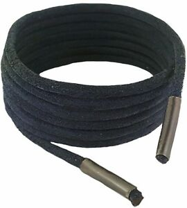 Shoe and Boot Laces Black 3 mm Round Leather Lengths from 45 cm-200 cm