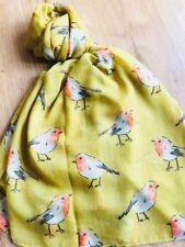 Mustard Robin Scarf Birds Wrap Ladies Red Robins Bird Secret Santa Christmas UK