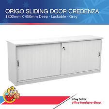 Sliding Door Credenza, Storage Unit Cupboard with Shelves, Lockable Origo Grey