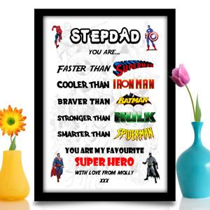 Personalised Birthday gift Step Dad Daddy Dad Super Hero A4 print