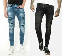 883 Police Super Stretch Skinny Vintage Slim Distress Designer Dark Denim Jeans