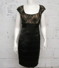 T by Tadashi Womens Size 6 Satin, Lace & Beaded Evening Dress