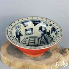 CHINESE BLUE AND WHITE HAND-PAINTED OLD CHARACTERS PORCELAIN BOWL m.681