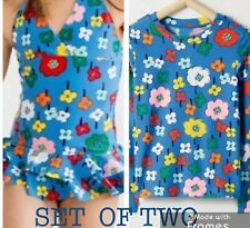 NWT HANNA ANDERSSON Girls Sunblock Blossom BLUE Swim Suit & Rash Guard Set Sz 4