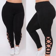 Women Cotton Black Solid Skinny Stretchy Pants Casual Yoga GYM Leggings Legging