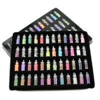48 Bottles Nail Art Charms Pearl Sequin Glitter Powder Acrylic Rhinestone Set