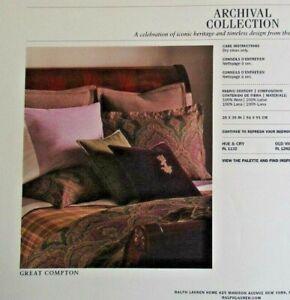 """Ralph Lauren """"Archival Riverport"""" ~ Purple 100% Wool King Sham ~ New in Package"""