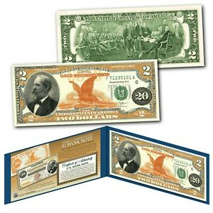 1882 Series James Garfield $20 Gold Certificate designed on a Modern $2 Bill
