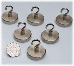 6 x LARGE Silver Neodymium Magnets HOOKS ~ 32mm x 36mm ~ Magnetic Fishing ~ 32kg