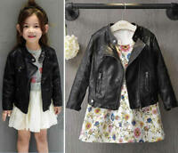 Baby Girl Boys Kids Autumn Winter PU Leather Jacket Coat Short Punk Outwear Tops