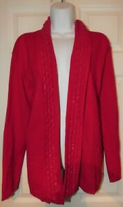 womens red silver sparkly  cardigan size 20/22