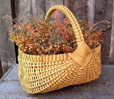 VINTAGE SPLINT OAK BASKET W DRIED FLOWER ARRANGEMENT HOME & GARDEN PLANTER DECOR