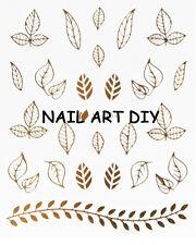 Nail Art Stickers-decals water transfer-adesivi per unghie Foglie colore Oro !!!