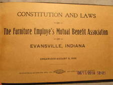 1900s Booklet Constitution & Laws Furniture Employees Assn. Evansville IN Karges