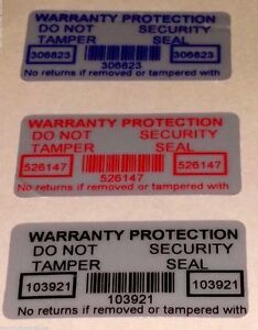 500 - WARRANTY PROTECTION VOID SECURITY LABELS WITH SERIAL #s 30mmX15mm 3 COLORS