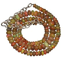 """88 Carat 16"""" 5 to 8 mm Natural Ethiopian Welo Fire Opal Bead Necklace -EB31886"""