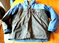 Men's Columbia Ski Jacket Winter Coat Blue & Charcoal Gray Black Size XL