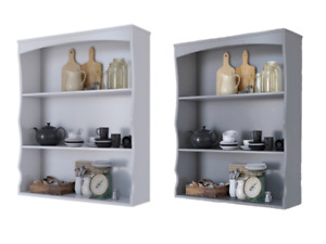 Painted Wall Mounted Shelves 3 Book Shelves Ideal for Kitchen or Bathroom