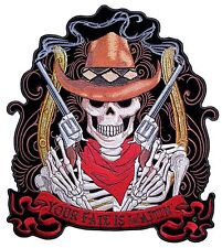 Large Your Fate Is Waiting Cowboy Skeleton Smoking Guns Embroidered Biker Patch