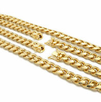 10mm Miami Cuban Link Chain Necklace Box Clasp Bracelet Various 14K Gold Plated.